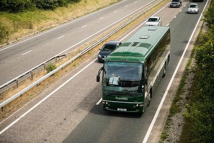 A Truronian coach thunders down the motorway
